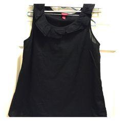Ruffle Collar Merona Black Lightweight Top Large Ruffle Collar Merona Black Lightweight Top Large. EUC. Merona Tops