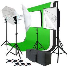 Julius Studio Photo Studio Kit 6 x 9 ft. Green White Black Muslin Backdrop Screen