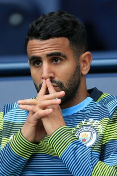 MANCHESTER, ENGLAND - SEPTEMBER Riyad Mahrez of Man City looks pensive ahead of the Premier League match between Manchester City and Fulham at the Etihad Stadium on September 2018 in Manchester, England. (Photo by Simon Stacpoole/Offside/Getty Images) Soccer Guys, Football Soccer, Football Players, Manchester City, Manchester England, Zen, Football Is Life, James Rodriguez, Soccer