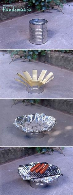 """20 Most Creative Camping DIY Projects and Tips: see tin can grill, firewood carrier, dry boots, waterproof your shoes,... (Click on """"source"""" under pics to get to each link for directions"""