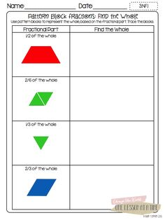 TONS of Free Fraction Printables: Fraction Circles, Cuisenaire Rods, and Pattern Blocks - BlairTurner.com