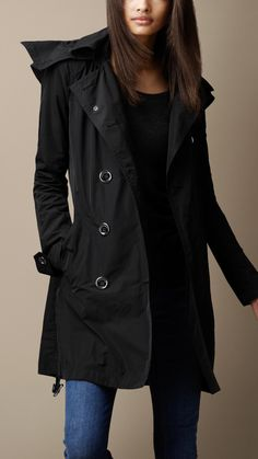 Mid-Length Technical Taffeta Hooded Trench Coat | Burberry