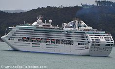 Sea Princess Cruise Ship anchored in the Bay of Islands New Zealand