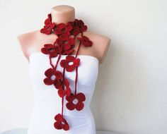 Red Ruby Burgundy Flower Hand Crochet Lariat Scarf by fairstore, $28.00
