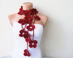Red crochet flower scarf – $25.