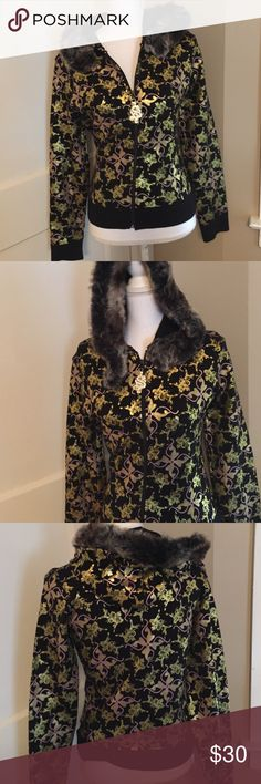 Gold and black BAby Phat hoodie Gold and black BAby Phat hoodie with detachable faux fur hood.  Jacket is gold and black.  Fabric is stretchy.  No pockets, p1 Baby Phat Jackets & Coats