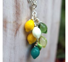 Gin and Tonic Necklace - Silver Lariat - Lemon Yellow, Lime Green, Teal, White - Retro Citrus Fruits - Tropical, Summer Fashion - Tiki
