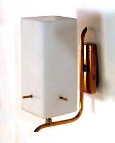 Master Bath Vanity: Pair of 1950s Brass Sconces with Box Shaped White Glass Shades   From a unique collection of antique and modern wall lights and sconces at https://www.1stdibs.com/furniture/lighting/sconces-wall-lights/