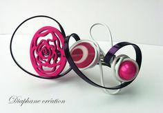 Grande barrette fuchsia, blanche et violette, bois ajouré et perle : Accessoires coiffure par diaphane-creation