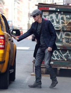 David Bowie hailing a taxi.