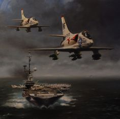 "Robert D. Fiacco, ""Oriskany Rendez-vous"" : A-4C Skyhawks from VA-94, assigned to USS Hancock, fly past the USS Oriskany (CVA-34) prior to striking targets in North Vietnam in 1967."
