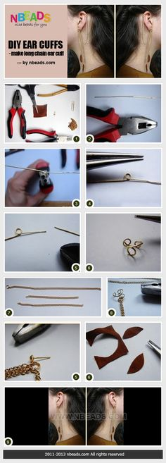 diy ear cuffs - make long chain ear cuff