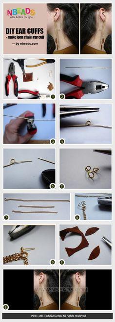 diy ear cuffs - make long chain ear cuff