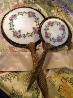 French Enamel Hand Mirror and Brush Raindrops And Roses, Rain Drops, Old And New, Enamel, Plates, French, Mirror, Tableware, Romantic