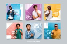 Fashion sale banners with photo Vector Social Media Poster, Social Media Banner, Social Media Template, Social Media Design, Fb Banner, Sale Banner, Instagram Design, Web Design, Book Design