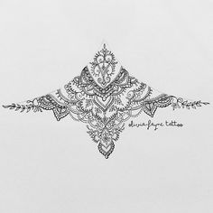 Sternum design for Akira (all designs are subject to copyright. To order your own custom design visit www.oliviafaynetattoodesign.com or email: all info on bio) #mandala #mehndi #sternumtattoo #tattoodesign