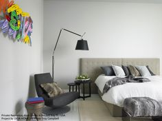 """The Black #Tolomeo Mega floor works very well in this """"pop"""" deco bedroom. #design Michele De Lucchi & Giancarlo Fassina"""