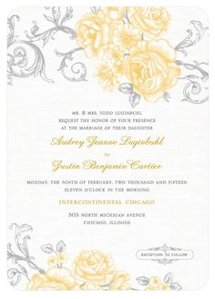 Gorgeous yellow and grey wedding color palette - love this  wedding color scheme!