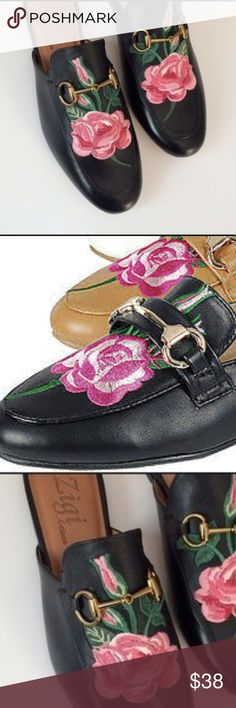 Zigi Embroidered Loafer shoes size 7 1/2 NWT Black Brand New! Zigi Artisian Loafer 7 1/2 leather upper. These are a terrific shoe with beautiful embroidered flowers! A small scuff is on the right foot, on the side. Thanks for visiting! Zigi Shoes Flats & Loafers