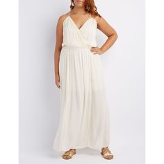 Charlotte Russe Crochet-Trim Maxi Dress ($29) ❤ liked on Polyvore featuring plus size women's fashion, plus size clothing, plus size dresses, ivory, sexy plus size dresses, boho maxi skirt, long white maxi skirt, bohemian maxi skirt and plus size long maxi skirts