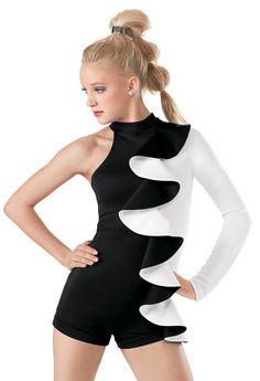 Weissman™   One Sleeve Black and White Biketard
