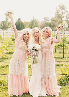 Bohemian Style Blush Pink - Modest Bridesmaids