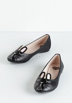 Furry Up, We're Dreaming Flat in Black. Slip into these bunny flats from T.U.K and join them in a delightful dreamland! #black #modcloth