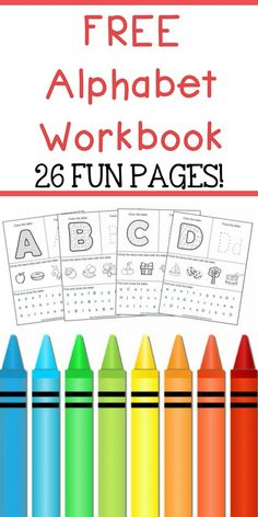 Alphabet Workbook for teaching children their ABC's. This ABC Workbook includes 26 fun pages including phonics, letter tracing, and more!...