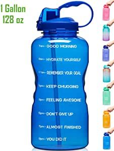 Amazon Com Venture Pal Large 1 Gallon 128 Oz When Full Motivational Bpa Free Leakproof Water In 2020 Water Bottle With Straw Motivational Water Bottle Water Bottle