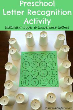 Pré-escolar Letter Recognition Atividades - Harmonização superior e letras minúsculas usando copos de papel, e muitas outras atividades divertidas.