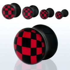 Amazon.com: Pair of Black Acrylic Red Checkerboard Logo Double Flare Plugs -6G(4mm): Jewelry