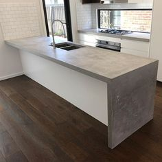 53 Awesome Kitchen Concrete Countertop Ideas To Inspire. Are you planning to install a concrete countertop? Countless people have known a range of advantages had by the countertop. Polished Concrete Kitchen, Concrete Kitchen Counters, Concrete Sink, Polished Concrete Countertops, Green Kitchen, Diy Kitchen, Kitchen Dining, Awesome Kitchen, Kitchen Taps