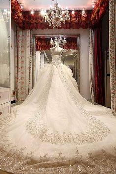 Elaborate wedding dress For more fashion an wedding inspiration visit www.finditforweddings.com wedding dress with long train