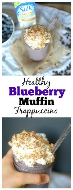 Now you can make a gourmet drink at home with this Blueberry Muffin Frappuccino! No one will guess that it's healthy! Also vegan + paleo!