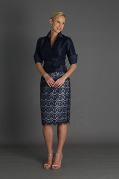 Living Silk - Celebrate in silk - Lace Pencil Skirt - Midnight Blue and Silver - Living Silk