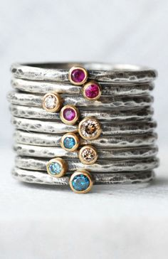 1d65bfe6099b Tiny Gemstone or Diamond Stacking Ring