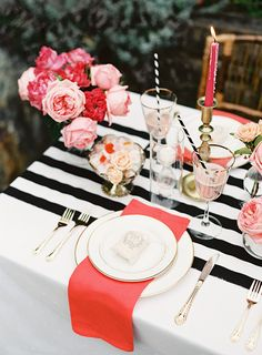 Pink, black and gold party inspiration | Dinner Party | 100 Layer Cake