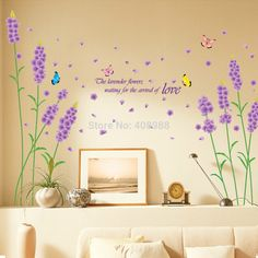 Find More Wall Stickers Information about Purple Lavender Living Room Decoration Stickers,High Quality Wall Stickers from LT Milliongadgets Shop on Aliexpress.com