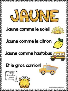 French Pocket Chart Poems and Activities (Les couleurs) Ta Study French, Core French, Learn French, French Teaching Resources, Teaching French, Spanish Activities, Teaching Spanish, Spanish Teacher, Teaching Reading