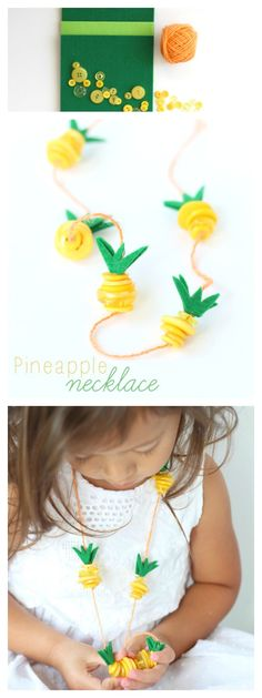 Pineapple Necklace Kids Craft #Moana   Make this easy summer Pineapple craft, inspired by Disney's Moana