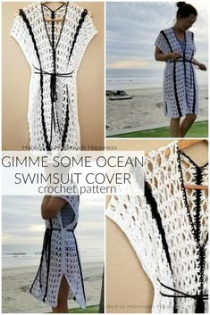 Gimme Some Ocean Crochet Swim Suit Cover Up Pattern - This Gimme Some Ocean Crochet Swim Suit Cover Pattern is the perfect summer project! It's as easy as making two rectangles and sewing them together. I used a pretty lacy mesh stitch for the open and airy design.