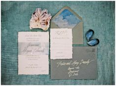Wedding, Stationery, Invitations, Invites, Sea, Blue, Shells, Beach. Married to the sea styled shoot.   Wedding inspiration.