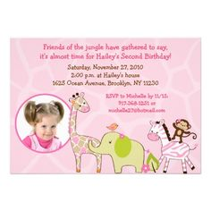 Girl Jungle Animal Photo Birthday Invitations