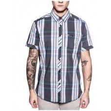 POINT ZERO Vibrant Stretch Cotton Blend Plaid Shirt