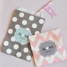 cute chevron baggies for the welcome bags