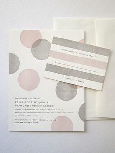 faire part rond toile gris clair rose poudré invitation mariage