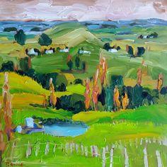 Kaipara Country, 40cm x 40cm, acrylic, www.paulinegough.com Medium Art, Mixed Media Art, Golf Courses, Country, Painting, Rural Area, Painting Art, Paintings, Mixed Media