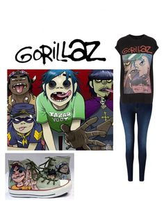 """""""Gorillaz"""" by wickedfreaks ❤ liked on Polyvore featuring 7 For All Mankind and And Finally"""