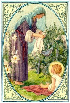 Blessed Mary doing the washing with Baby Jesus - art by Margaret Tarrant; I love the idea of Mary doing normal daily activities with Baby Jesus. Such a role model to me. Religious Pictures, Religious Icons, Religious Art, Blessed Mother Mary, Blessed Virgin Mary, La Madone, Vintage Holy Cards, Cicely Mary Barker, Queen Of Heaven