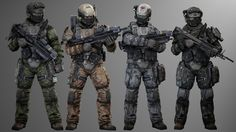 shows off four of the six skins i'll be including with these UCP colours and urban skin by jenkins from left to right theyre intended for: urban/woodland, desert, urban, spec ops